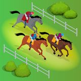 Isometric galloping race horses in racing competition competing with each other. Vector illustration. Equestrian sport Stock Photo