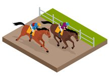 Isometric galloping race horses in racing competition competing with each other. Vector illustration. Equestrian sport. Harness racing at the Hippodrome Royalty Free Stock Photos