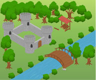 Isometric for game . Elements for game. strategy bridge castle Royalty Free Stock Photo