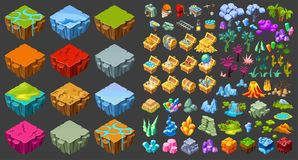 Isometric Game Landscape Icons Set. With different islands mining industry treasure chests nature elements isolated vector illustration Stock Images