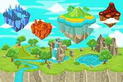 Isometric Game Nature Landscape Template. With waterfall mountains lake and flying ice magma volcano tropical islands vector illustration stock illustration