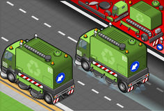 Isometric Garbage Cleaner Truck in Rear View Royalty Free Stock Photography
