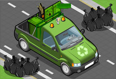 Isometric Garbage Pick Up in Front View Stock Photos