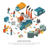 Isometric Garbage Recycling Concept. With scheme for processing waste from collection to recycling vector illustration Royalty Free Stock Photo