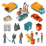 Isometric Garbage Recycling Icon Set Royalty Free Stock Image