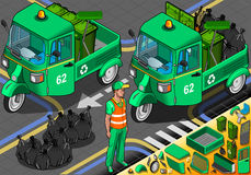 Isometric Garbage Rickshaw in Front View Stock Images