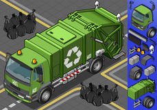 Isometric garbage truck Royalty Free Stock Photo