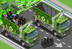 Isometric Garbage Truck with Container in Front Vi Royalty Free Stock Photos