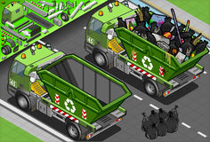 Isometric Garbage Truck with Container in Rear Vie. Detailed illustration of a Isometric Garbage Truck with Container in Rear View Royalty Free Stock Photography