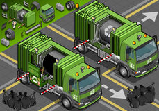 Isometric Garbage Truck in Front View Royalty Free Stock Photo