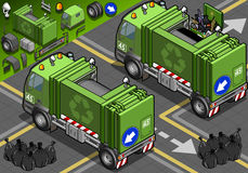 Isometric Garbage Truck in Rear View Royalty Free Stock Photos