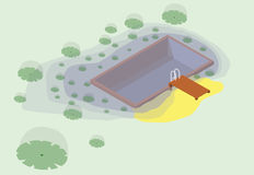 Isometric garden project at bathing pond. Natural garden swimming pond. Royalty Free Stock Image