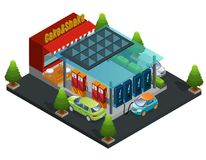 Isometric Gas And Charger Station Template. With cafe car fuel refill and electric automobile charging processes isolated vector illustration Royalty Free Stock Photography