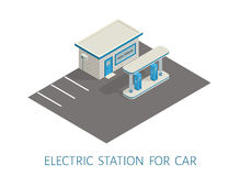Isometric gas, electric filling station brickwork building road 3d illustration Royalty Free Stock Photo