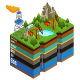 Isometric Gas Extraction Concept. With derricks rig truck and different layers of soil isolated vector illustration vector illustration