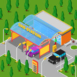 Isometric Gas Station with Cars, Serviceman and Driver Royalty Free Stock Photography