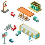 Isometric gas station with variety and car wash. Isometric gas station with variety store and car wash wit vehicles, signs, gas pumps vector illustration