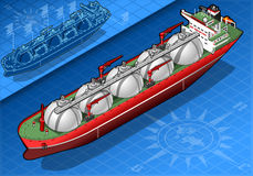 Isometric Gas Tanker Ship in Front View Royalty Free Stock Photography