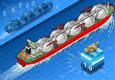 Isometric Gas Tanker Ship in Navigation vector illustration