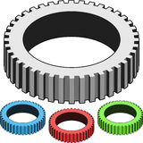 Isometric gears in blue, red, green and gray Royalty Free Stock Image