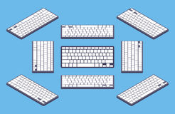 Isometric generic black computer keyboard with Royalty Free Stock Photos