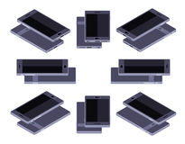 Isometric generic black smartphone. Set of the lying isometric generic black smartphones. The objects are isolated against the white background and shown from Royalty Free Stock Photography