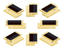 Isometric generic gold smartphone Stock Images