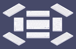 Isometric generic white computer keyboard with Royalty Free Stock Photos