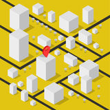 Isometric geolocation map with buildings and roads. Minimalistic navigation map. Location with pin pointer. Isometric Royalty Free Stock Photography