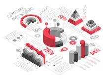 Isometric Geometric Solid Infographics. Isometric diagrams infographics black and white with solid geometric objects for graphs and diagrams with text vector Stock Images