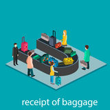 Isometric gesign of receipt of baggage. Baggage carousel Royalty Free Stock Photography