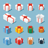 Isometric gift boxes. Isometric vector set of gift boxes / presents. Collection of gift boxes with a bows of different type - square boxes, round boxes, opened Royalty Free Stock Photography