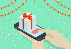 Isometric gift with hand holding phone. Concept of Isometric phone and gift with hand Royalty Free Stock Photo