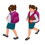 Isometric girl back to school concept.. A student in school uniform goes to school with a backpack. Education. Happy to study. Vector illustration used for Stock Image