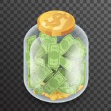 Isometric Glass Pot Jar Money Saving Bank Coin Banknote Transparent Background Mockup Icon 3d Realistic Design Vector. Isometric Glass Pot Jar Money Saving Bank Stock Photo