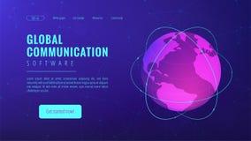 Isometric global communication landing page concept. Isometric global communication landing page. Transnational communication, global information transferring Stock Photo