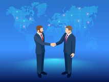 Isometric Global Cooperation. Businessmen shaking hands at the globe. The concept of business agreement and affiliate. Business vector illustration