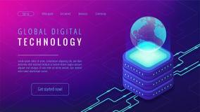 Isometric global digital technology landing page concept. Isometric global digital technology landing page. Big data, cloud information storage, global Stock Image