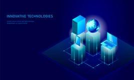Isometric globalny networking planety ziemi biznesu pojęcie Błękitny rozjarzony isometric informacja osobista dane związek royalty ilustracja