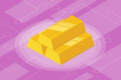 Isometric gold bar isolated investment finance Stock Photo