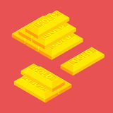 Isometric golden bars Stock Image