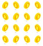 Isometric golden bitcoin set  pattern. Vector Stock Images
