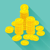 Isometric golden coins Stock Photography