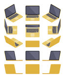 Isometric golden laptop Stock Images