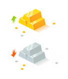 Isometric Golden and Silver Bars Royalty Free Stock Images