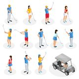Isometric Golf Players Collection. With cart and golfers holding clubs in different poses isolated vector illustration Stock Photography