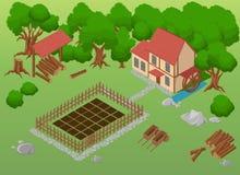 Isometric gospodarstwo rolne Elementy dla gry Rolni elementy Ogród Szczegółowa ilustracja Obraz Stock