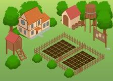 Isometric gospodarstwo rolne Elementy dla gry Rolni elementy Ogród Szczegółowa ilustracja Fotografia Royalty Free