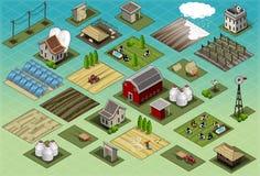 Isometric gospodarstwo rolne setu płytki ilustracji