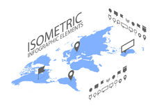 Isometric GPS navigation concept, World map application and marker pin pointer Stock Photography